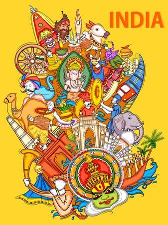 Indian collage illustration showing culture, tradition and festival of India Vektoros illusztráció
