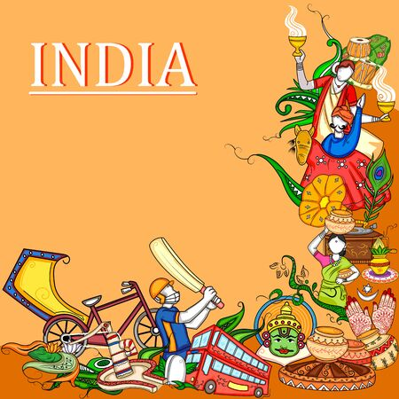 Indian collage illustration showing culture, tradition and festival of India