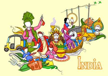 Illustrazione di collage indiano che mostra cultura, tradizione e festival dell'India