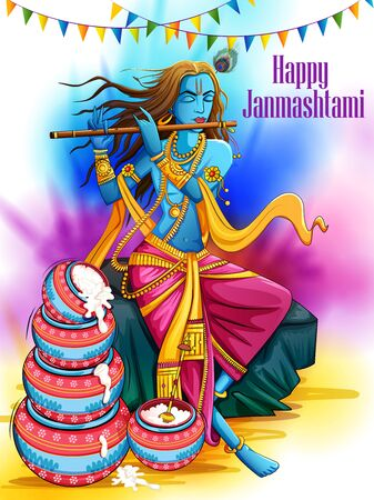 Gelukkige Janmashtami-vakantiefestivalachtergrond Vector Illustratie