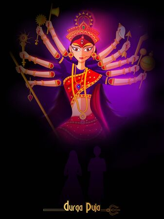 Happy Durga Puja festival background for India holiday Dussehra 免版税图像 - 130598426