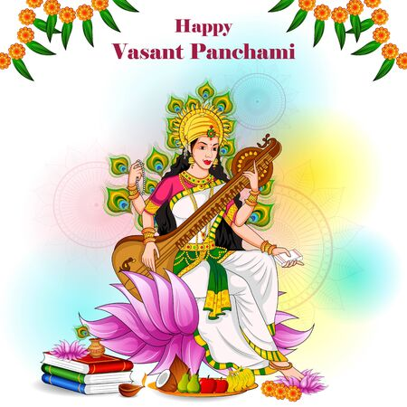 Vasant Panchami Saraswati Puja Indian festival background Vecteurs