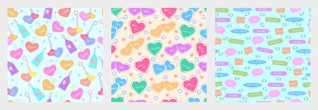 Happy Valentines Day greetings seamless pattern background Zdjęcie Seryjne - 140678258