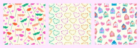 vector illustration of Happy Valentine's Day greetings seamless pattern background