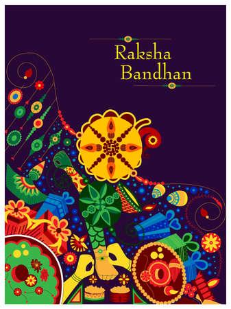 Decorated Rakhi for Indian festival Raksha Bandhan of brother and sister bonding celebration in India 일러스트