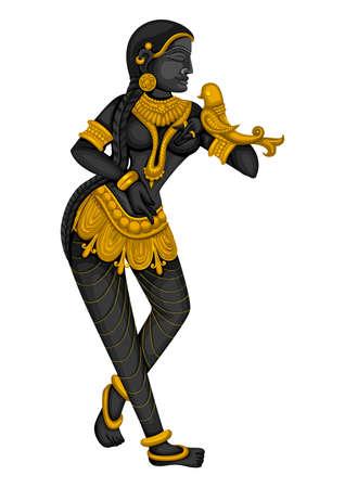 Vintage statue of Indian female sculpture engraved on stone Ilustracja