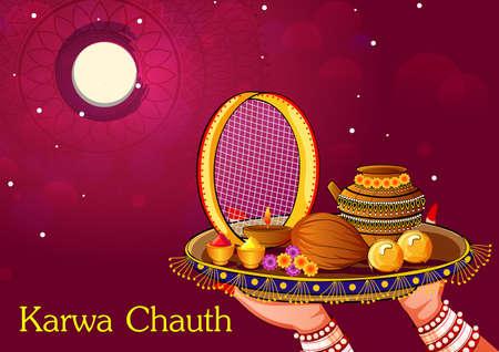 Indian woman looking moon through sieve during Karwa Chauth celebration Ilustracja