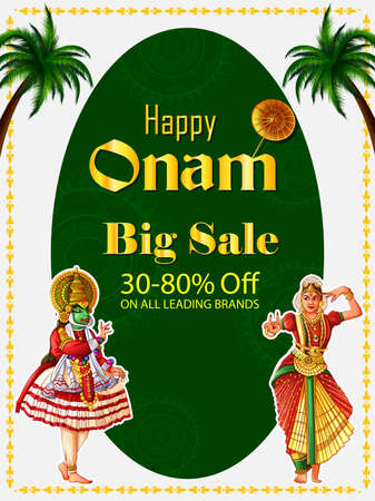 Happy Onam festival background of Kerala South India in Indian art style