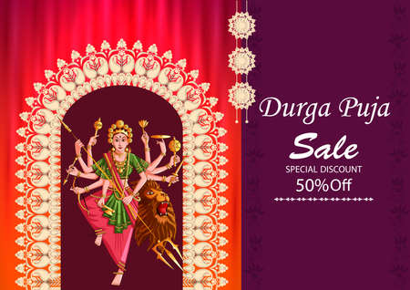 Indian Goddess Durga for sale and promotion background in holiday festival of India in Dussehra Vijayadashami Navratri