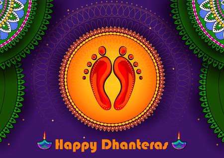 Goddess Lakshmi for Happy Diwali prayer festival of India in Indian art style Ilustracja