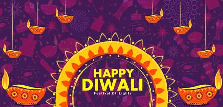 Happy Diwali traditional festival of India greeting background with colorful diya Ilustracja