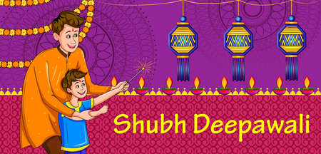 Happy Diwali traditional light festival of India holiday greeting background with colorful diya