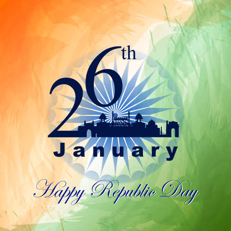 Tricolor Indian flag background with famous historical monument for 26 January Happy Republic Day of India 免版税图像 - 162780682