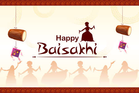 Punjabi Happy New Year Baisakhi celebrated in Punjab, India 矢量图像