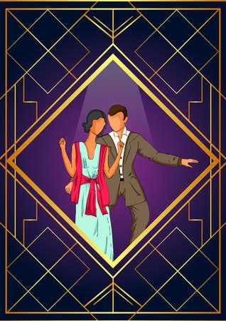 Retro age people enjoying and dancing in partyat club night lifestyle 矢量图像