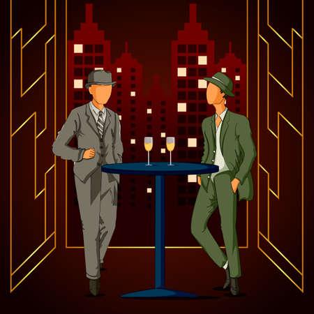 Retro age people enjoying and dancing in partyat club night lifestyle Illustration