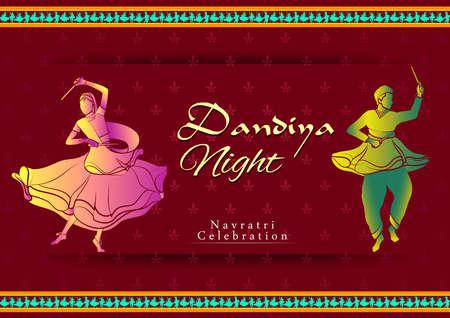 Indian couple playing Garba in Dandiya Night Navratri Dussehra festival of India