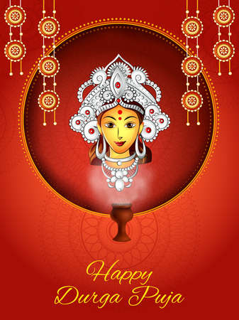 Indian Goddess Durga for sale and promotion background in holiday festival of India