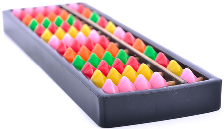 multicolor sponge scrub on white background