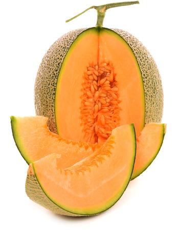 Cantaloupe: cantaloupe melon isolated on white background Stock Photo