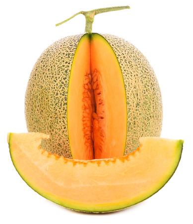 cantaloupe melon slices isolated on white background 版權商用圖片