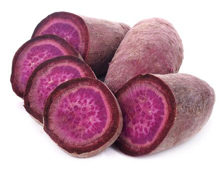 Purple Colored Sweet Potatoes on White background Archivio Fotografico