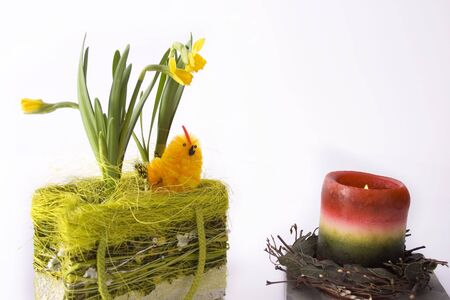 Chick in basketry with some flowers and candle photo