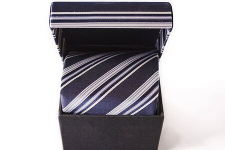 neckcloth: Silk necktie with box, isolated on the white background