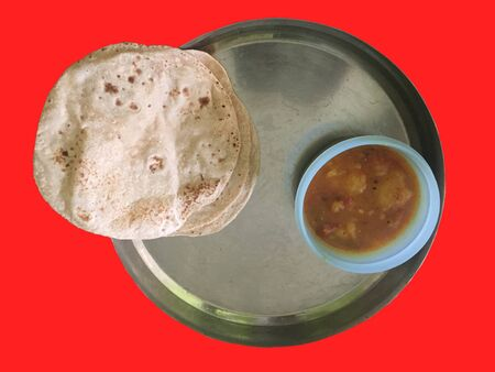Delicious food prepared from whole grain flour and curry of potato. It is scientifically proven that the color red raises a person's blood pressure, heart rate, and causes hunger to be more prevalent.