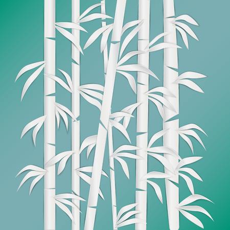 Bamboo Bos ? Natuur. Fabriek. Groene boom met bladeren. Regenwoud in Azië. papier gesneden stijl.