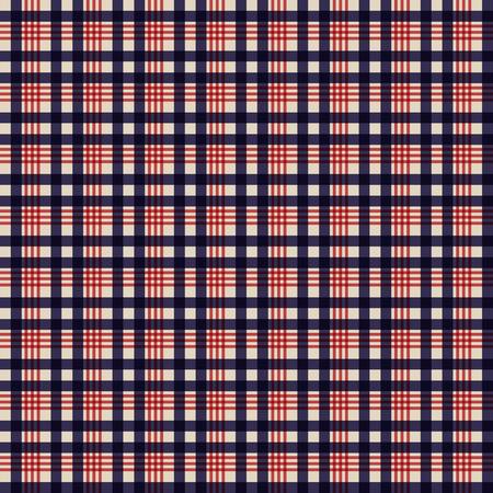 Retro de kleurenstijl van de VS Naadloos blauw beige en rood manierplaidpatroon.