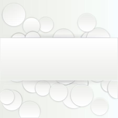 Papier ART rechthoek banner op cirkel achtergrond met slagschaduwen. Vector illustratie Stock Illustratie