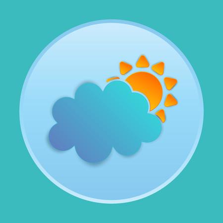Vlakke zon en wolk weer web pictogram papier kunststijl