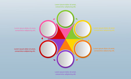 Six colorful circles with icons inside and text boxes placed around central hexagonal element divided into sectors. Modern infographic design template.   Ilustrace