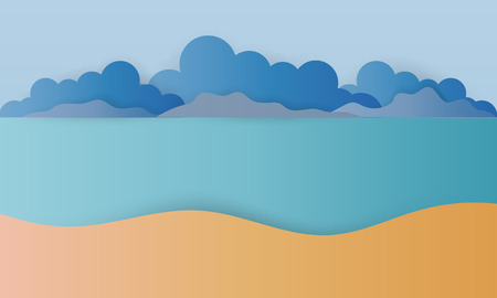 the beach with ocean background paper art style vector illustration - Vector