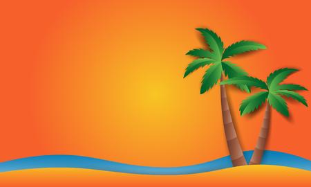 Beach Landscape with Beach sun Flat Design Style