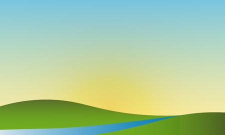 Summer landscape clear sky Vector natural landscape. Stock Illustratie
