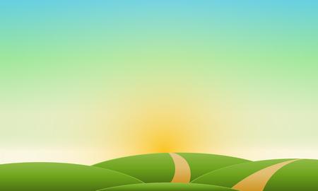 Summer landscape clear sky Vector natural landscape. 向量圖像