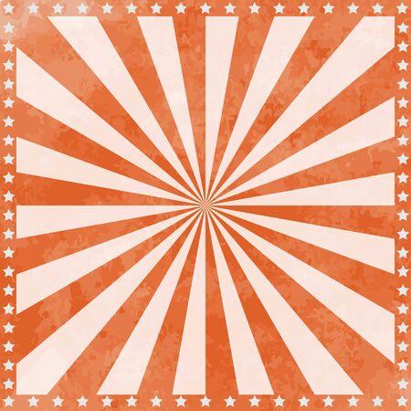 Fondo de cartel de circo vintage con rayos de sol y estrellas. Ilustración de vector