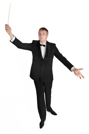 conducts: Conductor conducts in nice pose