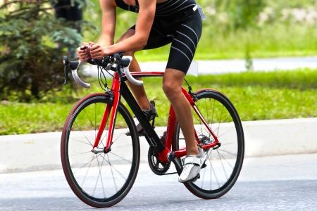 Cyclist on highway racing