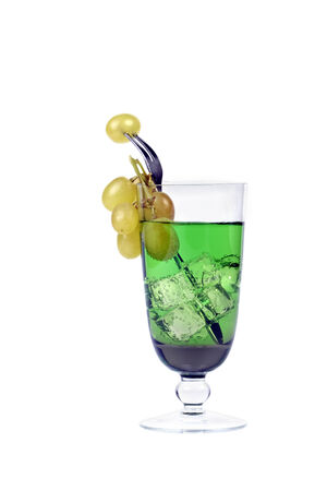 goblet: Goblet with green lemonade and ice cubs