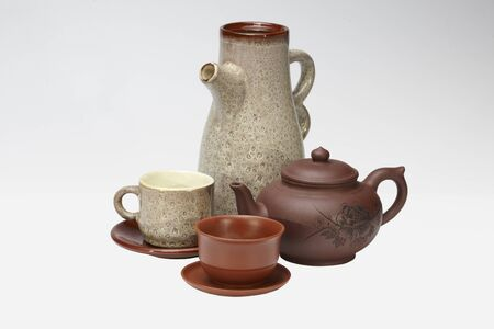 whote: Tea and coffee ceramic tableware Stock Photo