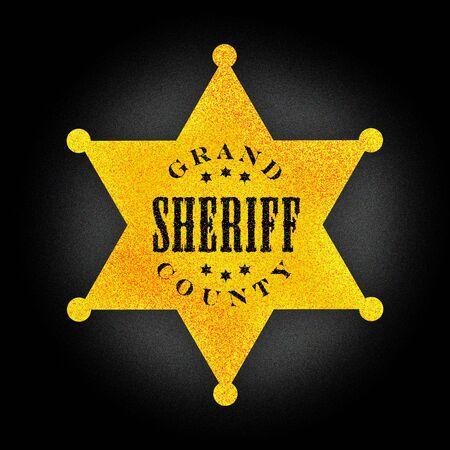 sheriff badge: Amarillo insignia del sheriff Foto de archivo