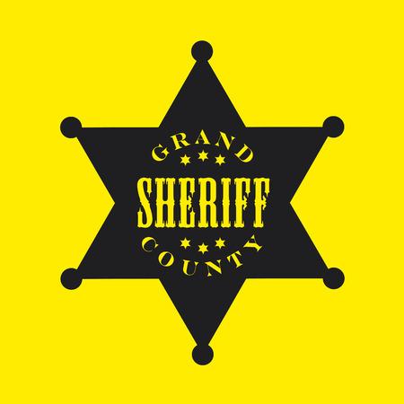 sheriff badge: Negro insignia del sheriff con el fondo amarillo