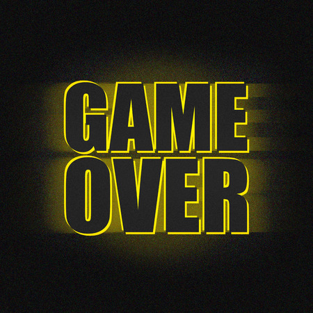 is over: Game over black yellow Stock Photo