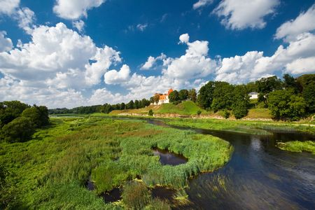 The panoramic view of castle Bauska in Latvia