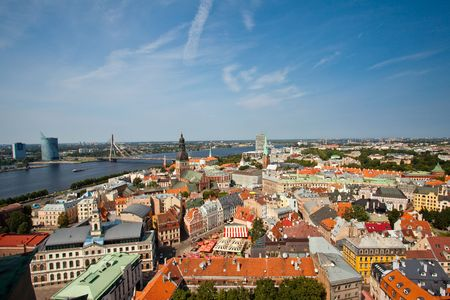 The panoramic view of Riga, capital of Latvia