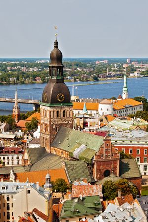Panorama view from Riga cathedral on old town of Riga, Latvia photo