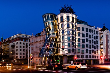 The night shot of dancing house in Prague, Czech Republic